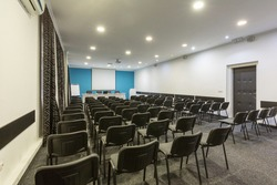 Interior of a conference room in hotel ready for a meeting