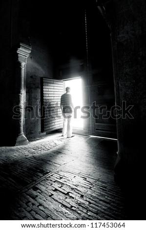 Interior of a dark room