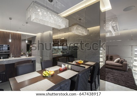 Interior of a dining room in a modern style, stock photo #647438917