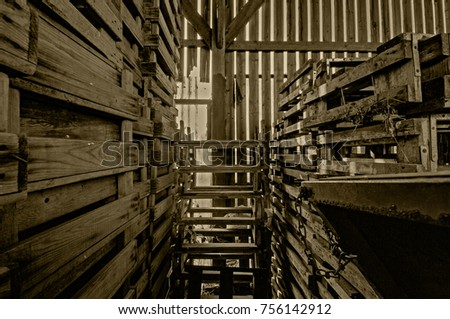 Interior Of A Dutch Old Weathered Wood Barn In The Netherlands 756142912