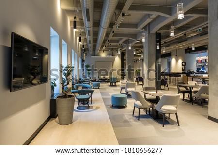 Interior of a empty modern hotel lounge cafe restaurant Сток-фото ©