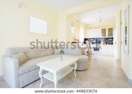 Interior of a guest house room with kitchen #448833076