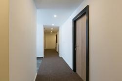 Interior of a hotel doorway corridor