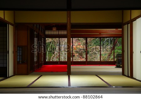 Interior of a japanese temple giving to zen garden (Kyoto, Nanzen-ji)