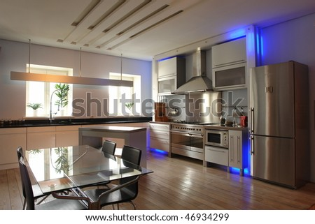 interior of  a kitchen