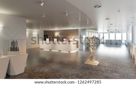 Interior of a large jewelry store with jewelry showcases, 3d illustration