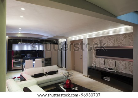 Interior of a large one room apartment
