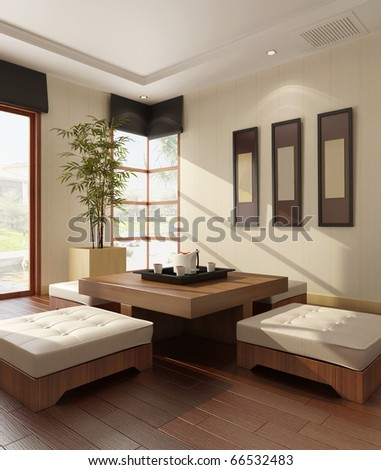Interior of a living-room 3D rendering