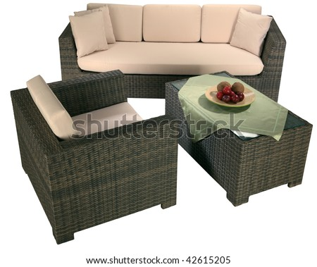 Interior of a living room. Urban rattan furniture isolated on white