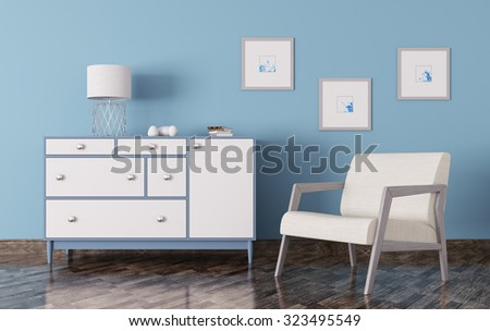 Interior of a living room with chest of drawers and armchair 3d render