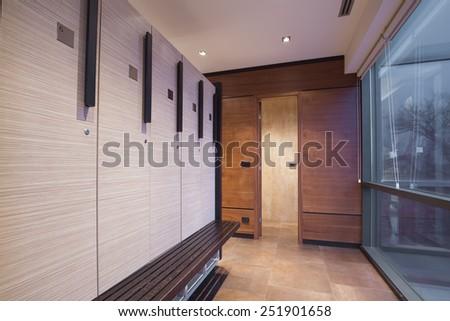 Interior of a locker, changing room
