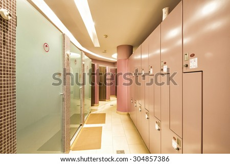 Interior of a locker, shower, changing room
