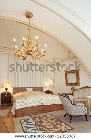 interior of a luxurious old style hotel room
