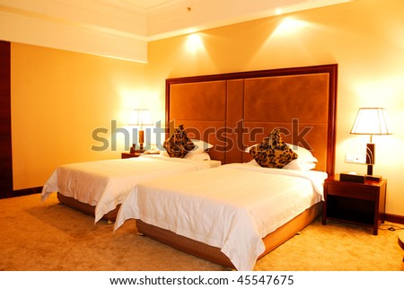 Interior Of A Luxury Hotel Bedroom Stock Photo 45547675