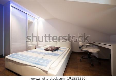 Interior of a luxury loft apartment - bedroom