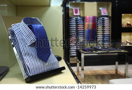 Interior of a mens wear store, business clothing