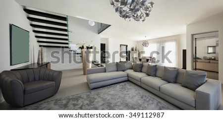 Interior of a modern apartment, comfortable living room #349112987