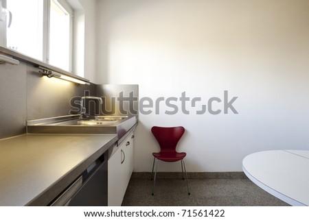 interior of a modern apartment, kitchen view