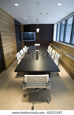 interior of a modern boardroom - stock photo