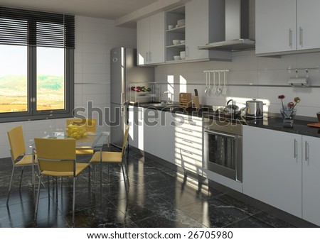 Interior of a modern designed kitchen in black and white colors