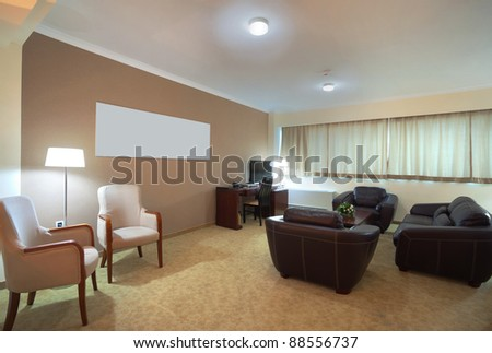 Interior of a modern empty hotel apartment. - stock photo