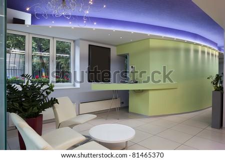 Interior of a modern hair salon - reception