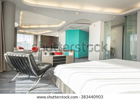 Interior of a modern hotel apartment #383440903