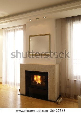 interior of a modern living room with fireplace