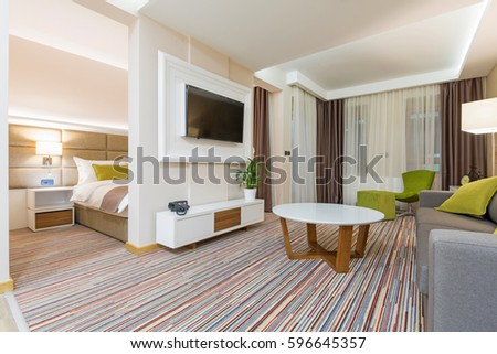 Interior of a modern new hotel apartment