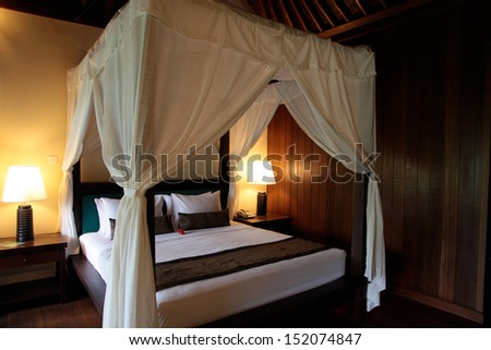 Interior of a modern resort bedroom - travel and tourism.
