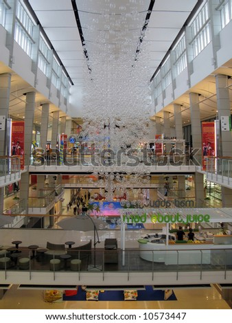 Interior of a modern shopping mall decorated for Chinese New Year