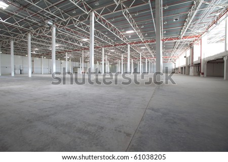 Interior of a modern warehouse ,clean and empty