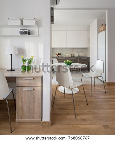 Interior of a new modern apartment in scandinavian style with kitchen and workplace. & Interior of a new modern apartment in scandinavian style with ...
