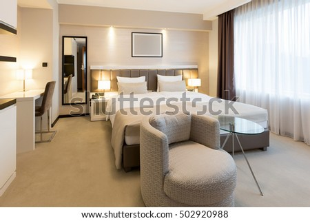 Interior of a new modern hotel bedroom ez canvas