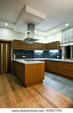 Interior of a new modern wooden kitchen