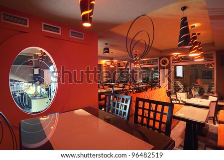 Interior of a restaurant modern design in few colors orange and brown stock photo 96482519 for Restaurant interior color schemes
