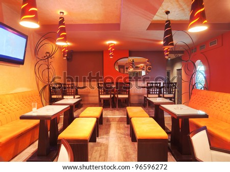 Interior of a restaurant modern design in few colors orange and brown stock photo 96596272 for Restaurant interior color schemes