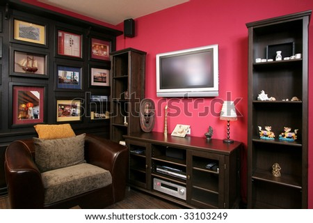 Interior of a room of rest in style of a retro