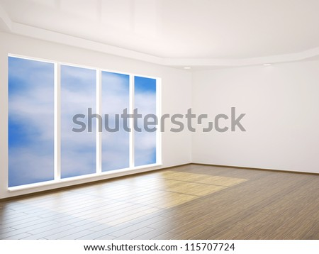 Interior of a room with big window