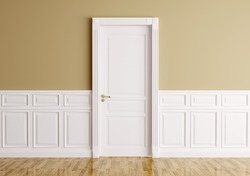 Interior of a room with classic door