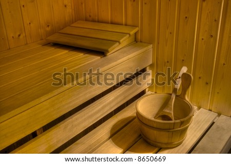 Interior of a sauna