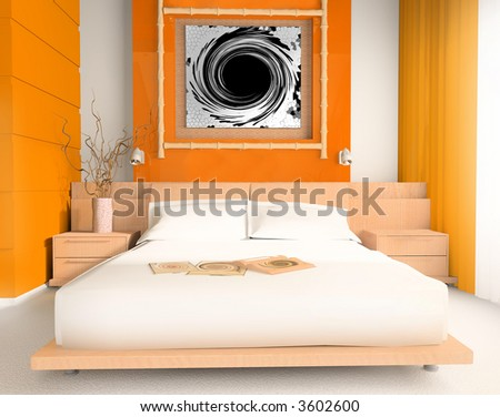 Interior of a sleeping room 3d image