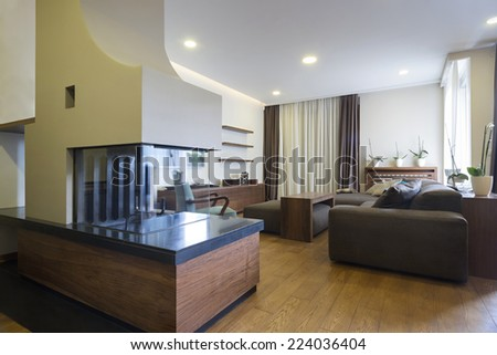 Interior of a specious living room with fireplace #224036404