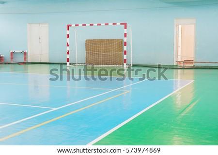 Interior of a sport hall for soccer or handball  #573974869