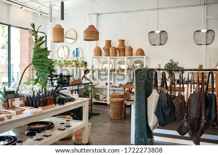 Interior of a stylish boutique full of an assortment of housewares, bags and accessories for sale Сток-фото ©