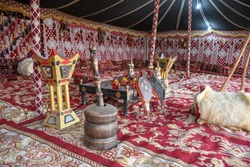 Interior of a traditional bedouin tent in Al Hijin festival activity in Taif City in Saudi Arabia.