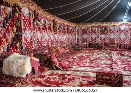 Interior of a traditional bedouin tent in Al Hijin festival activity in Taif City in Saudi Arabia. Stock fotó ©