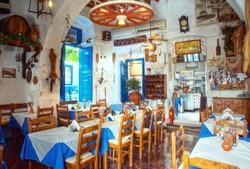 interior of a traditonal greek restaurant