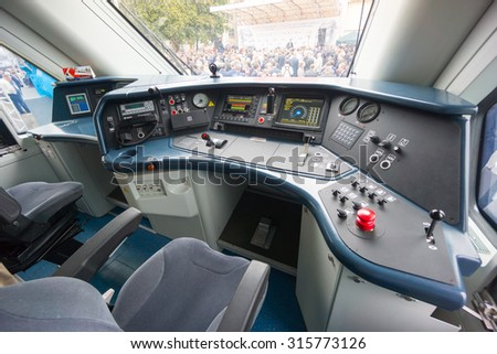 interior of a train driver cab