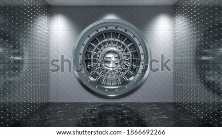 interior of a vault with steel door and safety deposit boxes, black marble floor. 3d render. Сток-фото ©